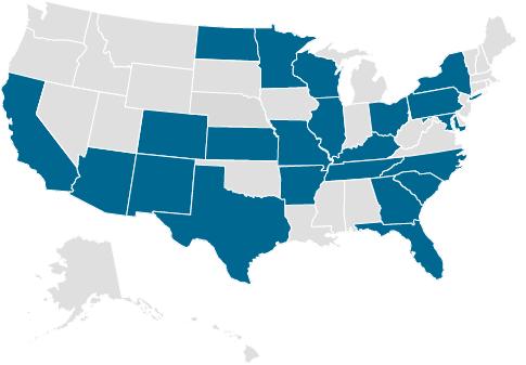 U.S. Map showing states Med Properties has properties in